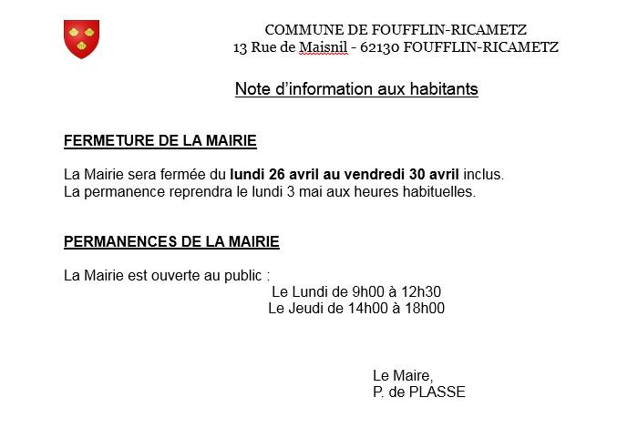 Note fermeture mairie avril